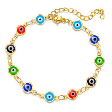 Gold Plating Colorful Enamel Evil Blue Eye Bracelet Bangles For Women Mens