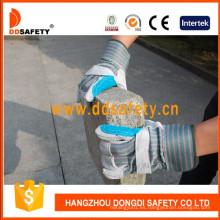 Reforzado azul de seguridad de cuero workig guante Dlc326