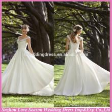 WD1179 Nouveau design à bas prix au large de l'épaule étincelant des bretelles élastiques poches en satin rond coutés 2014 robes de mariage invité