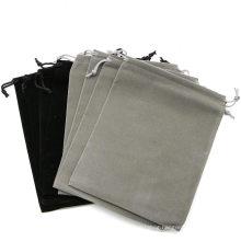 New design embroidery grey customizable velvet gift drawstring bag