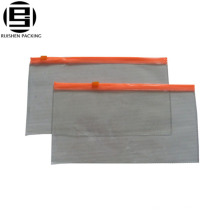 Clear custom decorative pvc ziplock slider bags for pencils pens