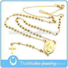 Fashion religious jewelry for 2016 gold cross pendant Virgin Mary christian 4mm rosary necklace stainless steel rosary necklace