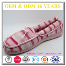 Comfortable stripe terry indoor flat shoe for woman