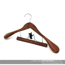 Antique Wooden Walnut Clamp Suit Hanger for Cloth