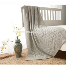PK17ST375 rib knitted cashmere blanket organic fabric throw