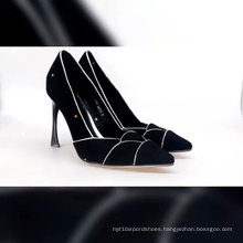 Genuine Leather Pumps Shoes High Heel Women Pumps Ladies Pump Shoe Black with Pointed Toe for Ladies