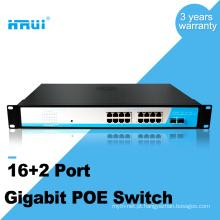 Conversor de mídia Gigabit poe 2 gigabit combo porta poe switch 16 port