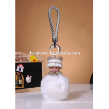 New design Lovely Monchichi Keychain With Fur Ball For Car Decoration Monchichi Gift