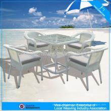 Conjunto de mesa de centro de vime redondo branco high-end ao ar livre