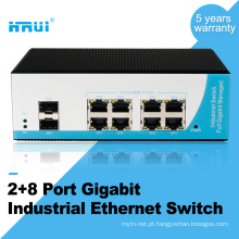 Gerenciado camada 2 switch din rail gigabit 8 conversor de mídia de porta industrial switch