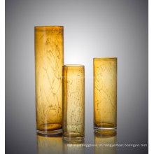 Colorido cilindro forma de vidro flor de vaso para decoração casa