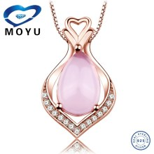 luxury pink gemstone pendant Jewelry set with rose gold plated