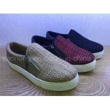 Women Weave PU chaussure décontractée avec fermeture à glissière