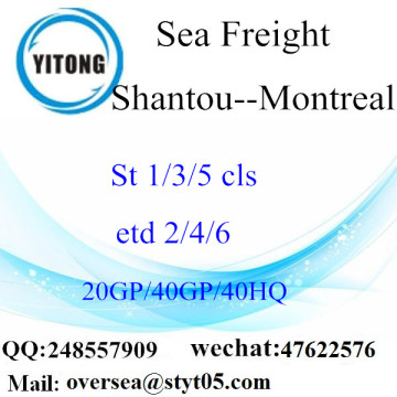 Shantou Port Sea Freight Shipping To Montreal
