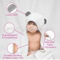 Juego de toalla y toallita de bebé con capucha de bambú 100% orgánico | Toalla de baño con capucha extra grande con orejas de panda gris para bebés recién nacidos