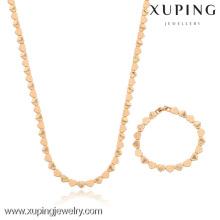 63213-Xuping Necklace & Bracelet Lovely Heart Shape String Jewelry Set para la boda