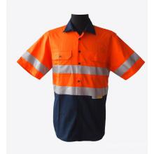 Светоотражающие рабочие рубашки с короткими рукавами, высокий, оранжевый