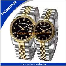 Mode-Paare Uhr mit Edelstahlband Japan Bewegung Quarz-Armbanduhr
