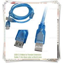 1.5m Transparente blaue Farbe USB 2.0 männlich zu weiblich Verlängerungskabel USB AM TO AF CABLE mit Ferritkabel