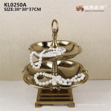 Double-deck gold color luxury high end metal fruit tray for antique curio shelve