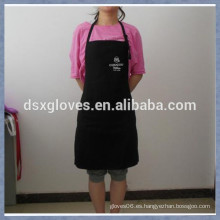 Delantal de cocina delantal Delantal de bordado ajustable Delantal de algodón negro