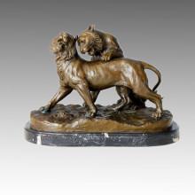 Tier-Statue Doppel-Löwen spielen Bronze-Skulptur, C. Valton Tpal-122