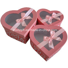 Hearted Shape Kosmetik Papier Geschenkbox mit Ribbon Clear Window