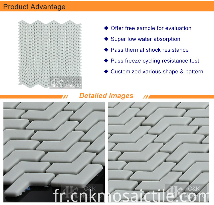 Top Sale Bathroom Chevron Glass Mosaic Tile