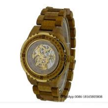 Relógio de madeira automático do relógio de esqueleto Relógio de madeira luxuoso da fábrica Wholealse Relógios