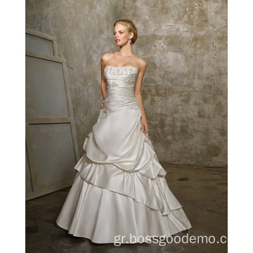 Απλό A-line Strapless Cathedral Train Satin Beading Two-Layers Wedding Dress