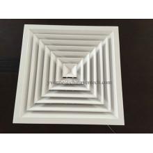 Diffuseur d'air carré à 4 voies en aluminium pour système HVAC