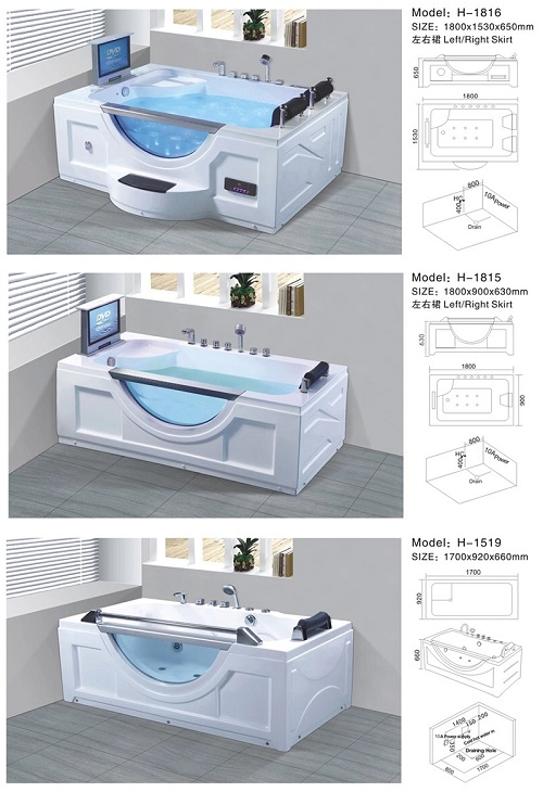 Premium plus size capacity portable free standing bathroom massage bath tub