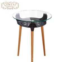 Gros Chine Alibaba meubles rond en verre en plastique panier de rangement en bois à manger café snack table de jardin en plein air