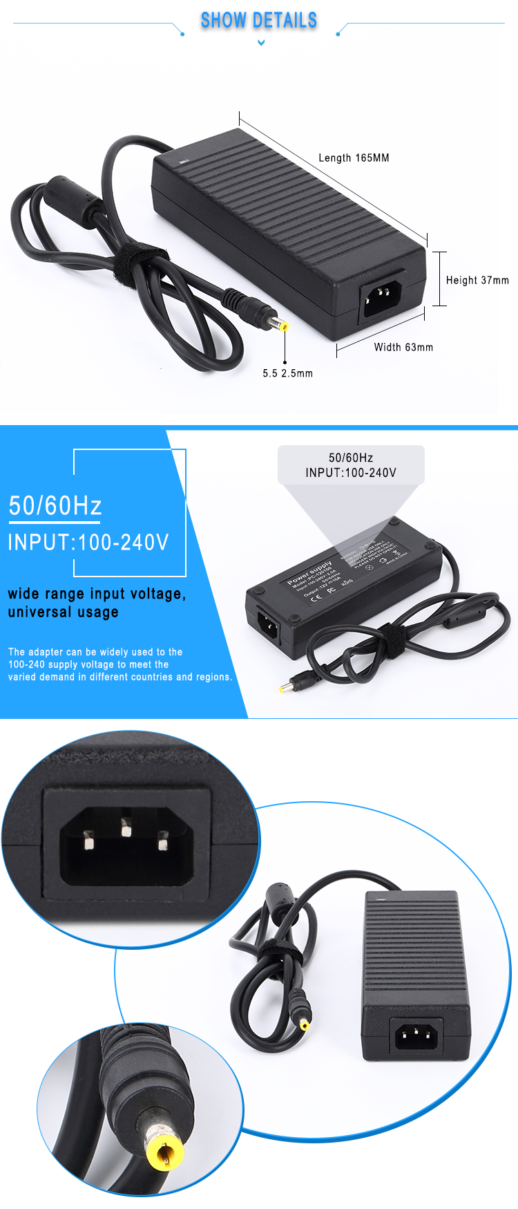 laptop ac dc power adapter 18.5v 6.5a