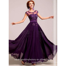 Alibaba Elegant Applique Long New Designer O Neck Hand Pearls Lace Beach Evening Dresses Or Bridesmaid Dress LE14