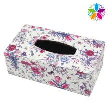 Fashion Rectangle Flower Design Leather Tissue Box (ZJH081)