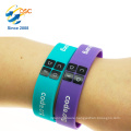 Custom debossed wide silicone wristband bracelet with color filled
