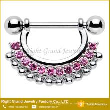 Anillo de protección de pezón de diamante rosa claro multicolor acero quirúrgico 316L