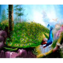 Pintura a óleo pintada à mão do pavão na lona (EAN-111)