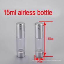 Bouteille de 15 ml de bouteille de bouteille sans air en plastique brillant en plastique pour cosmétiques