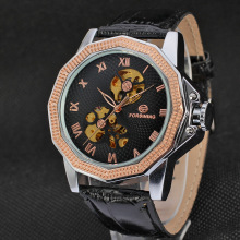 Automatic Mens Leather Band Montres-bracelets occasionnels