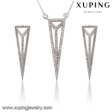 63845 Fashion Elegant CZ Diamond Rhodium Triangle -Shaped Alloy Copper Imitation Jewelry Set