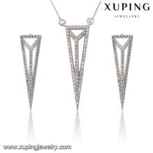 63845 moda elegante cz diamante ródio triângulo-shaped liga de cobre conjunto de imitação de jóias