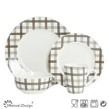 Porcelana escocesa de la verificación 16PCS con el sistema de la cena de la etiqueta