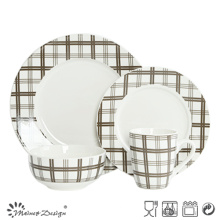 Scottish Check 16PCS porcelain with Decal Dinner Set