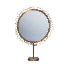 Sunburst Round Standing Framed Vanity Mirror with Antique Gold Brass Finish