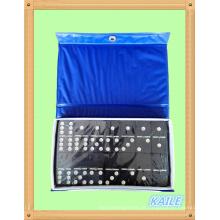 Double 6 plastic black dominó pack em caixa de PVC