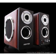Altavoz multimedia HI-FI 2.0, caja de altavoz de madera