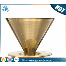 stainless steel 304 titanium coated gold color pour over coffee dripper / cone coffee filter