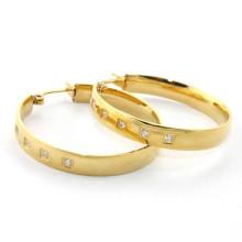 Simples pequeno zircão popular aro 316 brinco de diamante de aço inoxidável para mulheres